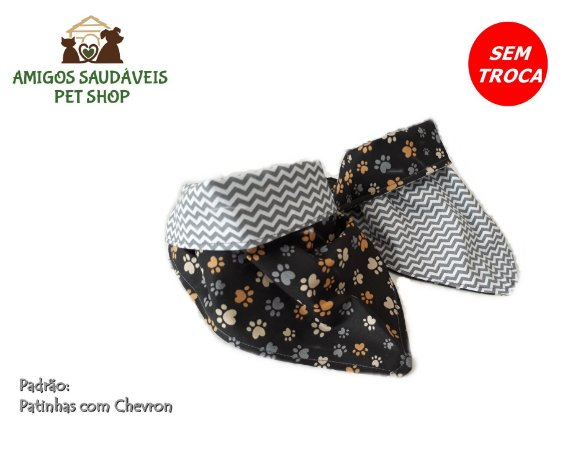Bandana Dupla Face Patinhas / Chevron