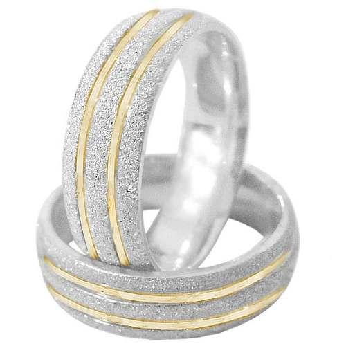 Par de alianças de prata com filete de ouro18k - frete grátis