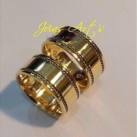 Alianças Grécia ouro18k - 20.0grs - 7.5mm - frete grátis