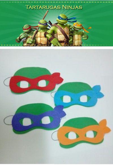 Máscaras das Tartarugas Ninjas para crianças de EVA