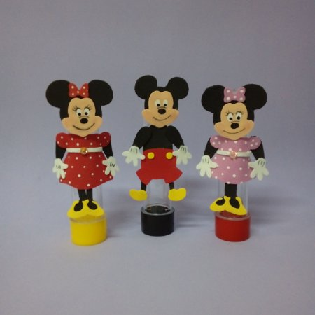 Tubetes da Minney e do Mickey com aplique de EVA.