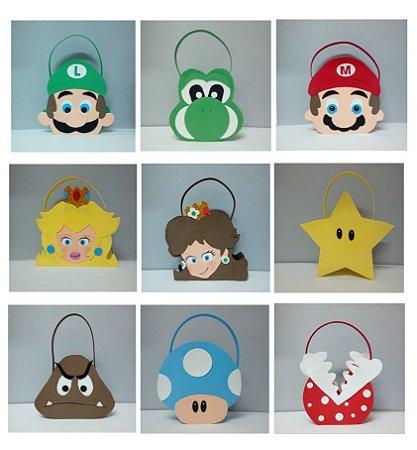 Sacolinhas Super Mario Bros de EVA para doces e lembrancinhas.