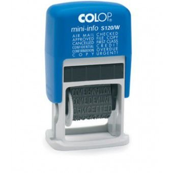 Carimbo Automático Colop Mini-info S 120/W - 4x20 mm (vários dizeres)