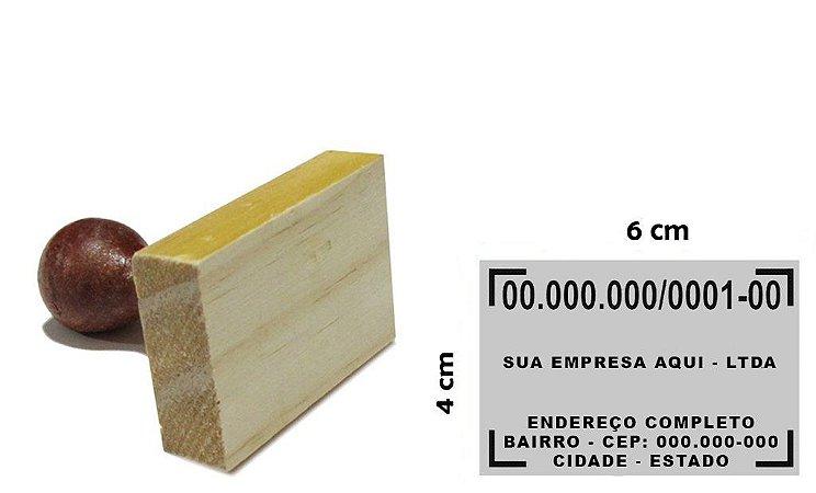 Carimbo de Madeira CNPJ - 40x60 mm (Padrão da Receita Federal para CNPJ)