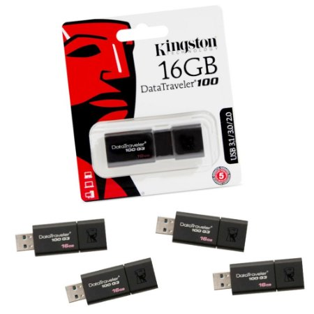 Kit com 5 Pendrives Kingston 16gb DataTraveler – USB 3.1/3.0/2.0