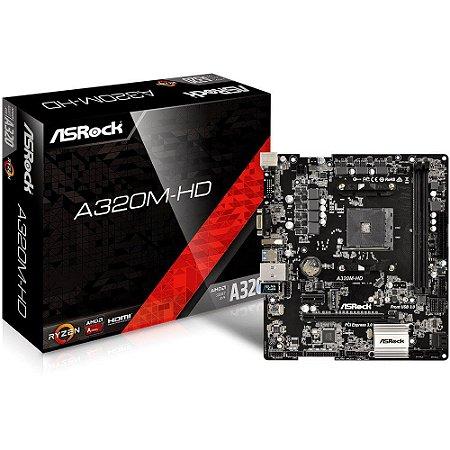 Placa-Mãe ASRock p/ AMD AM4 A320M-HD DDR4