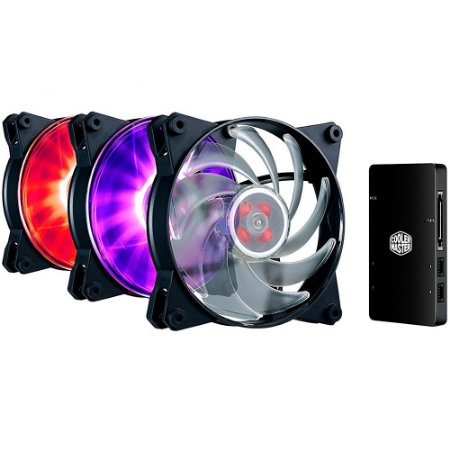 Cooler FAN Coolermaster MasterFan Pro 120 Air Balance LED RGB 120mm 3 em 1 - MFY-B2DC-133PC-R1