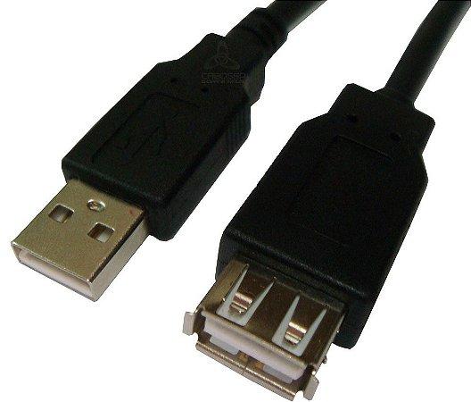 Cabo USB2.0 a Macho + a Femea 3 Metros Preto