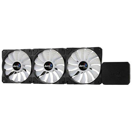 Kit Cooler FAN Aerocool com 3 FANs RGB 12cm e Controlador P7-F12 PRO Preto