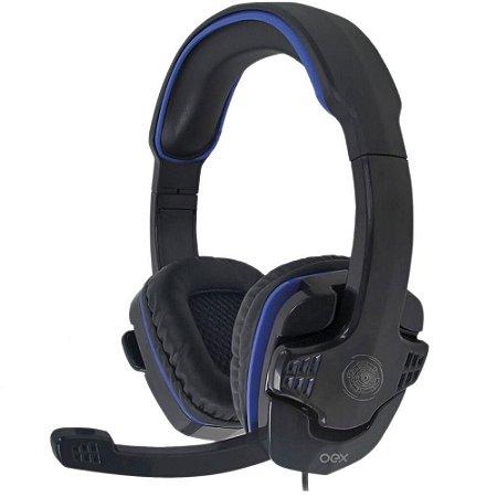 Headset Gamer OEX Stalker P2, Preto/Azul - HS209
