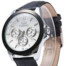 4ebec614ad4 Relógio Masculino Quartz Chenxi 019A Correia de couro genuíno decalques  decorativos