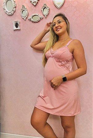 Camisola Gestante Malha Fria Rosa Claro