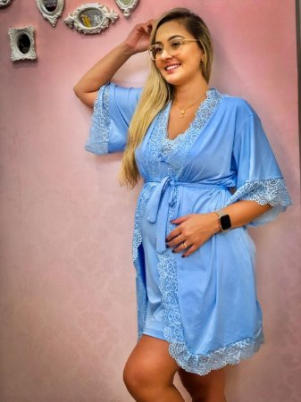 Robe Malha Fria Azul Bebe