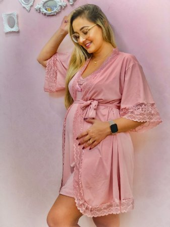 Robe Malha Fria Rosa Claro