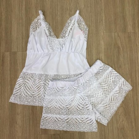 Baby Doll Branco Short Transparente