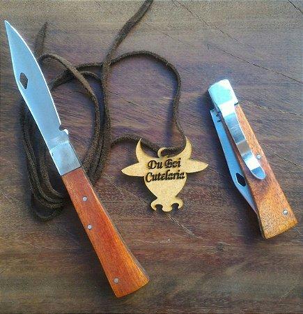 Canivete Tradicional Cabo de Madeira Com Ponta e Presilha