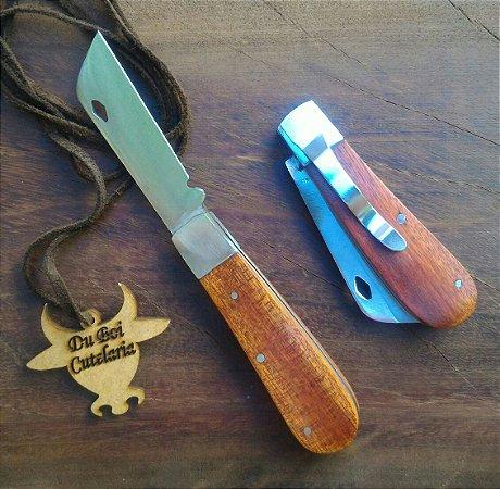 Canivete Tradicional Cabo de Madeira Com Presilha