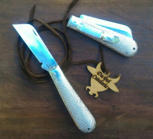Canivete Tipo Corneta Prateado Com Presilha