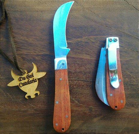 Canivete Tipo Foice - Cabo de Madeira e Presilha