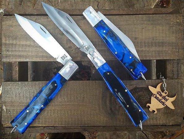 Canivete Churrasqueiro Cabo Acrílico Azul