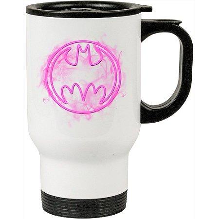 Caneca Térmica Branca Batman Logo Neon