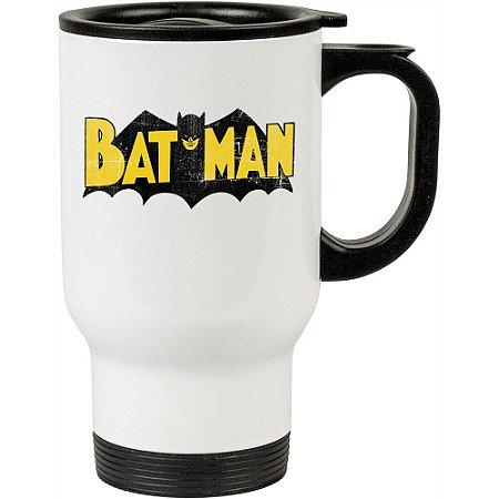 Caneca Térmica Branca Batman Logo Vintage