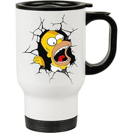 Caneca Térmica Branca Homer Simpson Quebrando Tudo