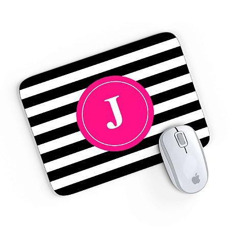 Mouse Pad Monograma Rosa Listrado Preto Inicial J 24x20