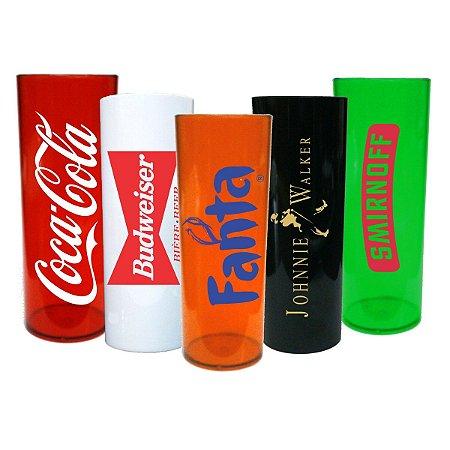 Copo Personalizado Long Drink Acrílico 350ml 100 Peças