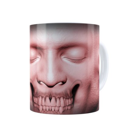 Caneca Porcelana Cabeça de Zombie 01 Branca