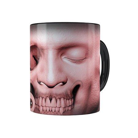 Caneca Porcelana Cabeça de Zombie 03 Preta