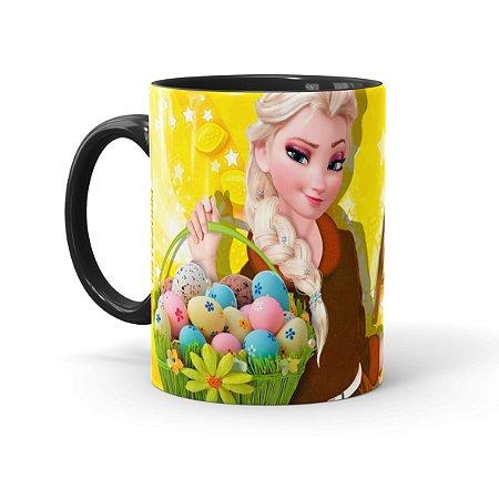 Caneca Chocolate Feliz Páscoa Frozen Elsa 02 Preta