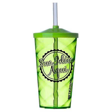 Copo Twister Tampa e Canudo Personalizado 500ml Verde