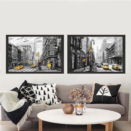 9c167ab2e Conjunto com 2 quadros decorativos com moldura preta chanfrada