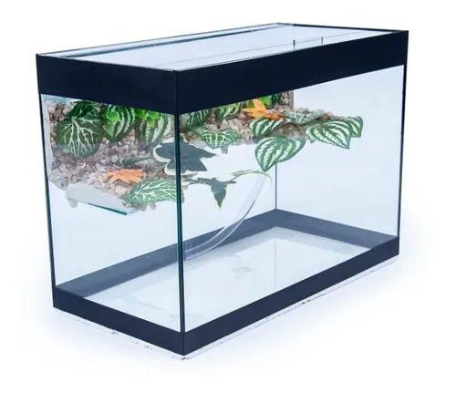 Aquaterrario Com Plataforma Para Tigre D'água  50x25x35 - 44Lts / 4mm