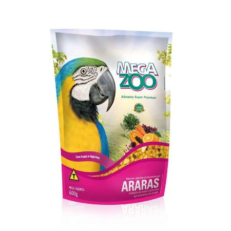 Alimento Para Arara Megazoo Frutas E Legumes 600g