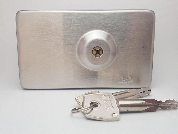 Fechadura JBM (TRAVA) INOX Para Porta De Vidro P/ Abrir (GIRO) Com Chave Tetra FA1