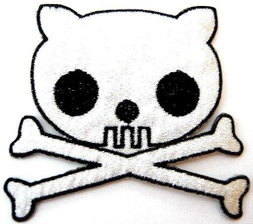 Patch Bordado Termocolante Catskull