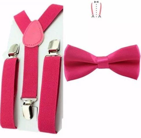Kit de Suspensório  + Gravata Borboleta Pink Adulto e Infantil