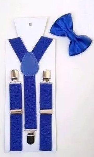 Kit de Suspensório + Gravata Borboleta  Azul Turquesa Adulto e Infantil