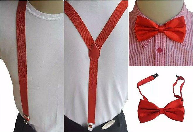 Kit de Suspensório  + Gravata Borboleta Vermelho Adulto e Infantil