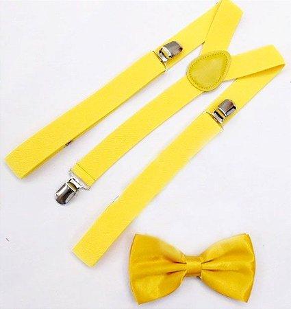 Kit de Suspensório  + Gravata Borboleta Amarelo Adulto e Infantil