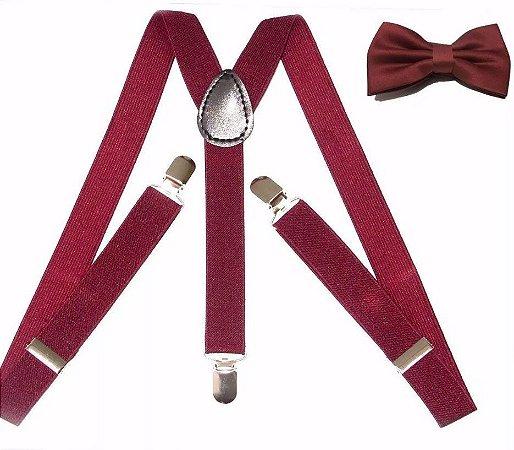 Kit de Suspensório + Gravata Borboleta Vinho Adulto e Infantil