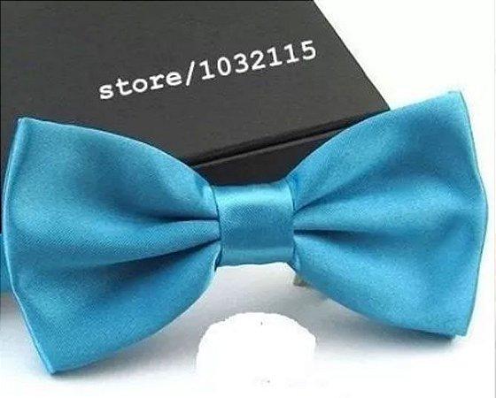 Gravata Borboleta C/ Regulador Azul Tiffany Adulto e Infantil