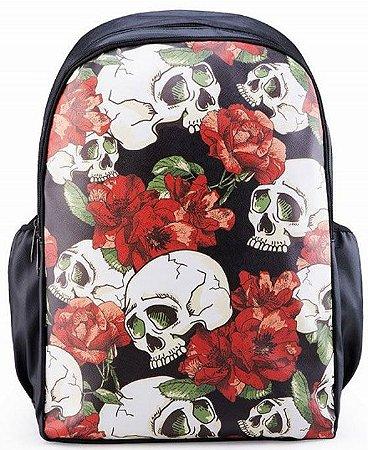 Mochila Caveira Flores Roses Escolar Madstar