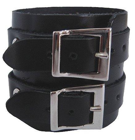 Pulseira Bracelete Rock Couro 2 Fivelas