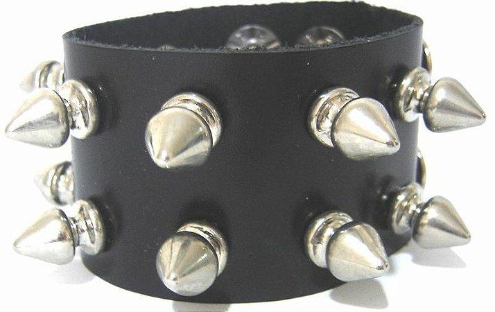 Pulseira Bracelete Rock Spike Rebite e Tachas Madstar