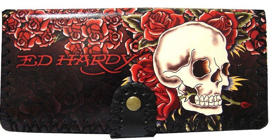 Carteira Ed Hardy Skull Roses