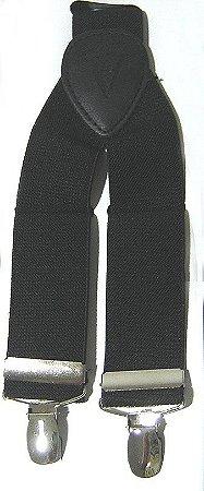 Suspensório  Liso Preto Madstar 3,5 cm