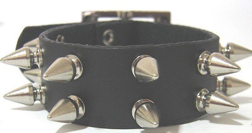 Munhequeira Pulseira Bracelete Rock Spike Rebite e Tachas Madstar